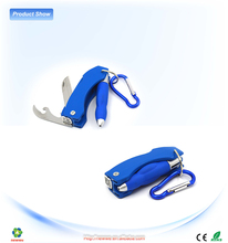 Led light Key Chain With Mountaineering buckle and Bottle opener&Fruit knife car pen keychain gift set