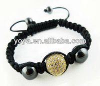 BR3807 CZ disco ball bead shamballa bracelet,2013 New popular cz beaded woven bracelet in different types