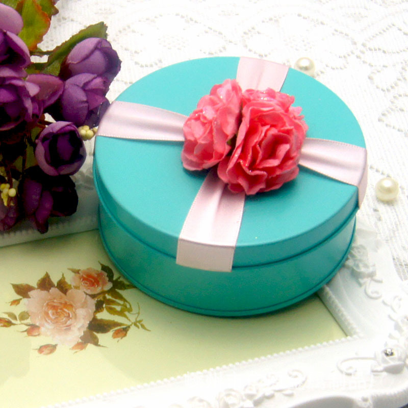 Clean Color Round Wedding Candy Packaging Tin Box