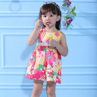 Readymade garments for girls Sleeveless Flowers Cotton Korean Style baby frocks designs 2014 summer girl garment