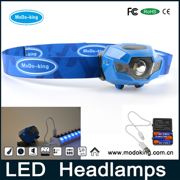 2017 China manufacturer dual light source headlight USB rechargeable LED Headlamp