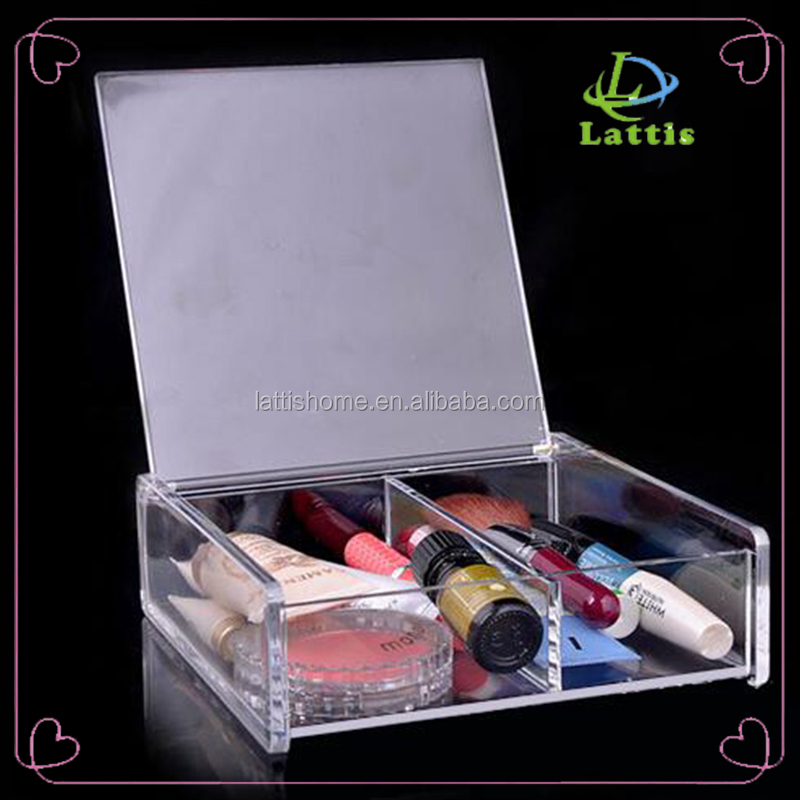 Diamond Handle Clear acrylic makeup organizer with flip up lid