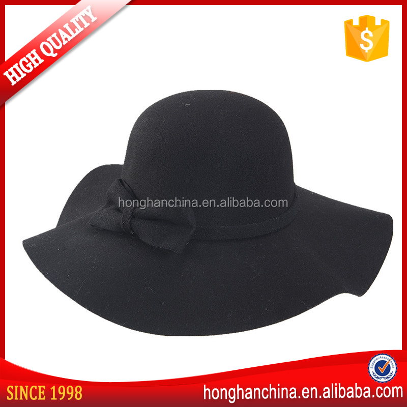 New Arrival Stylish Women's Lady Wide Brim Wool Bowler Fedora Hat Sun Beach Bowknot Cap summer beach floppy hat in honghan