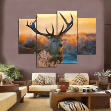 Multi Panel Canvas Wall Art 4 Panel Deer Head Nordic Oil Paintings Printed Stretched Paintings Picture