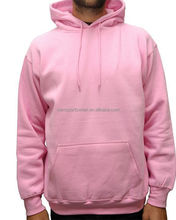 Plain mens microfiber pullover blank fleece hoodies pink