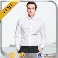 High quality white brand name men printed dress shirts