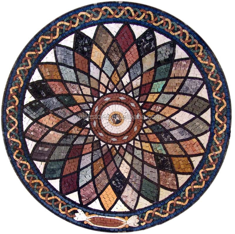 Free colorful tile mosaic flower pattern design,marble mosaic medallion design