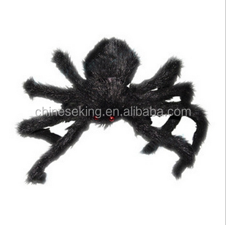 Diy black spider scary soft plush toys for Halloween's Day jumpping spider toy for 2016 Halloween trick gifts