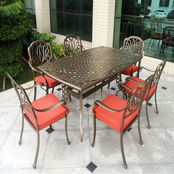 Professional Outdoor Furniture Factory Cast Aluminum Garden Set, Patio Dining Table