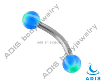 Fashion wholesale steel bar acrylic ball piercing eyebrow curve