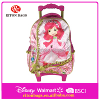Pretty strawberry girl design 14 Inch 600D satin kids trolley bags