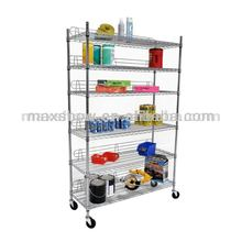 Chrome plated wire shelving 4-tier grocery store shelf