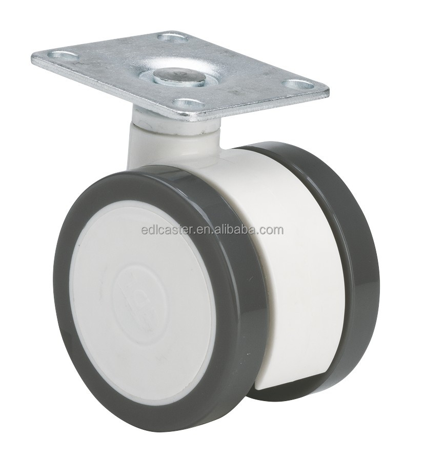"EDL Medical Casters 3"" 60Kg Polyurethane Twin Wheels Castors Plate Swivel Rotation type Caster Wheel for hospital"