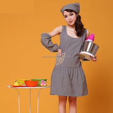 Latest style nice high quality cheap sleeveless apron suit for lady