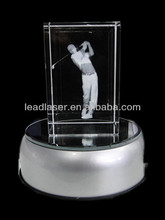 lead crystal glass cube with rotating light base
