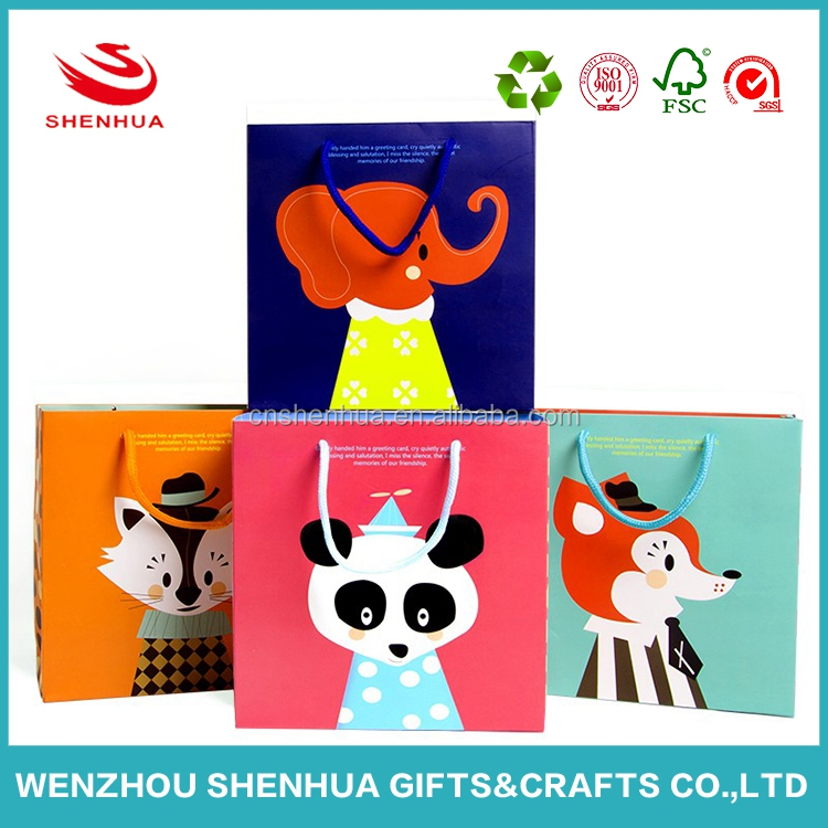Wholesale price eco-friendly cute paper gift bag for children