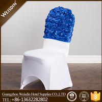 Guangzhou wholesale wedding fancy flower half back rosette chair cover