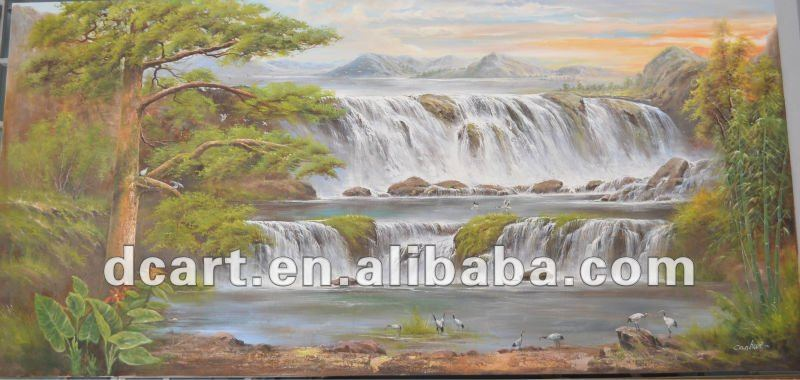 Handmade Beautiful Waterfall Scenery Oil Painting On Canvas