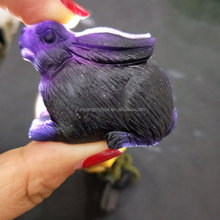 Wholesale natural hand carved purple fluorite rabbit crystal craft rabbit figurines for gift