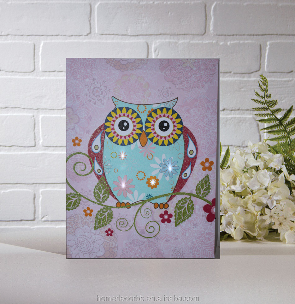 Illuminated led lights with glitter on leaf Cartoon owl pictures for kids canvas painting wall art home decorative giclee print