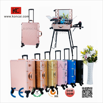 MOQ 1PC Hot sale customize color professional trolley makeup box, cosmetic train box makeup trolley case