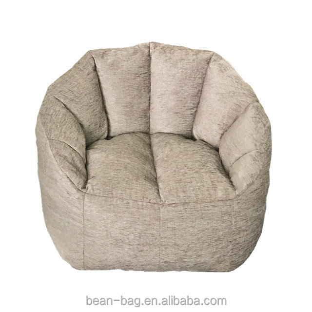 White Faux Leather Round Bean Bag Arm Chair