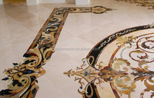 Luxury residence home flower waterjet medallion floor tiles marble inlay design