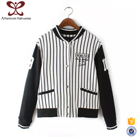 New Model Stand Collar Ladies Long Sleeve Letter Printed Baseball Blouse