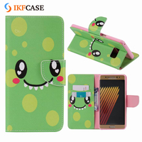 Custom Cartoon Painting Leather Phone Cases For Samsung Galaxy Note 7 with Wallet Stand and Card Holder