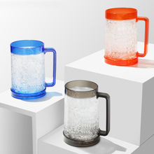 Most popular products hot sale 16oz freezer gel plastic double wall beer mug with handle
