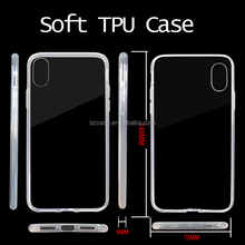 High clear transparent tpu mobile phone back cover case for iphone 8