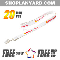 screen print polyester tube lanyard with plastic bulldog badge clip