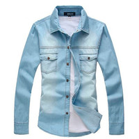 MOON BUNNY 2016 New Vintage Men's Fashion Breathable Denim Thin Jacket Long Sleeve Light Blue Top quality Jean Jacket MCL139