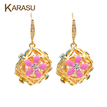 Real 18k Gold Filled Hollow Ball full Sweet Color Flower Tiny Crystal Dangle Drop Earrings for Women Piercing Jewelry