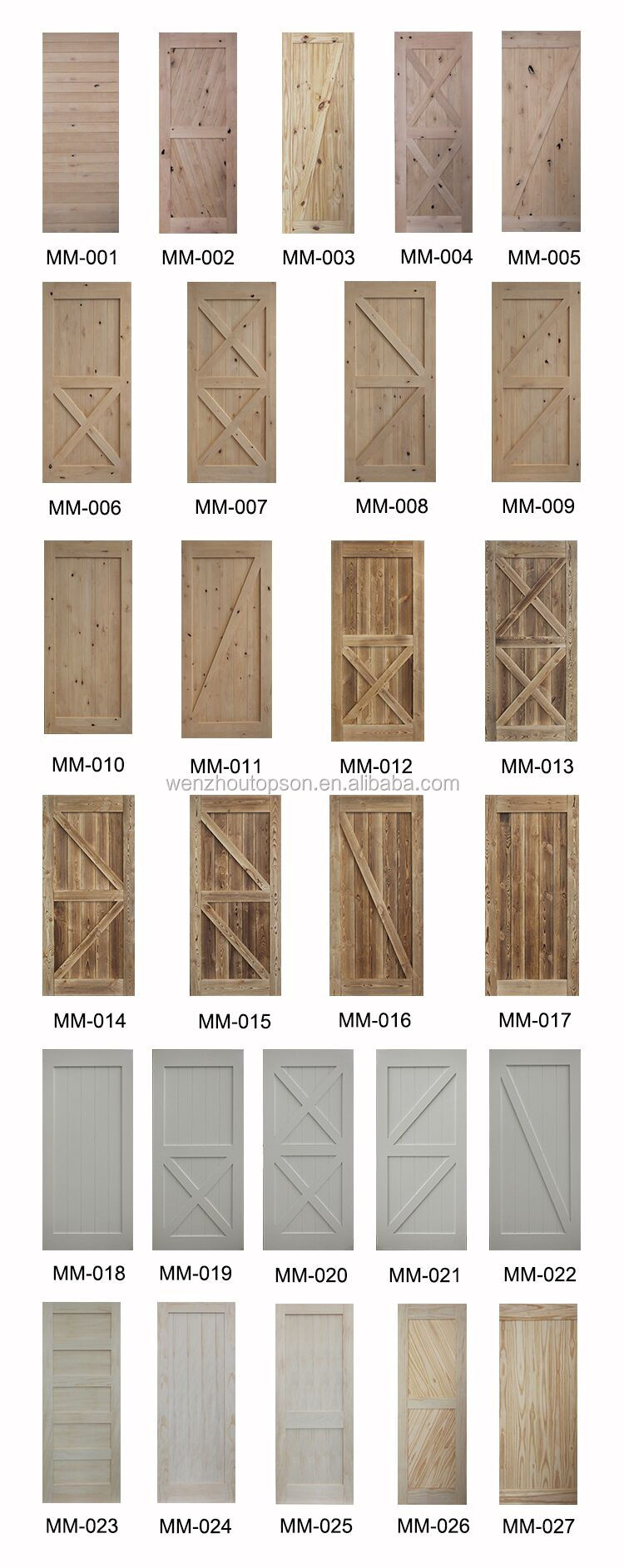 "38""*84"" pine knotty sliding barn wood door slab two-side x shape barn door"