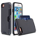 NEW DESIGN TPU+PC Shockproof card slot case for iphone 7, weave pattern card slot tpu pc 2in1 case for iphone 7