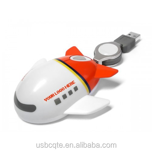 Gift Promotion Airplane Shape 3D Wired Optical Mouse