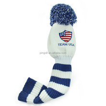 best selling golf driver head cover America flag custom knitted wool head cover