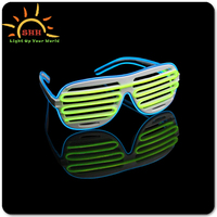 Two color EL Wire hotest Party Favor Shutter Shades, EL Flashing Glasses, USB charging Light Up Stunner Shades