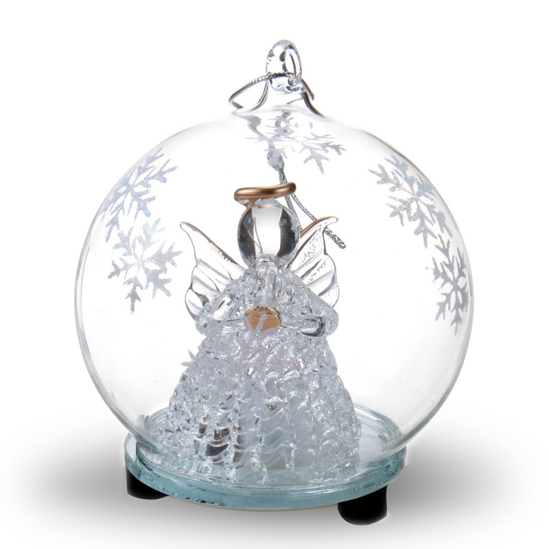 LED Clear Glass Ball Ornament with Spun Glass Angel Figurine