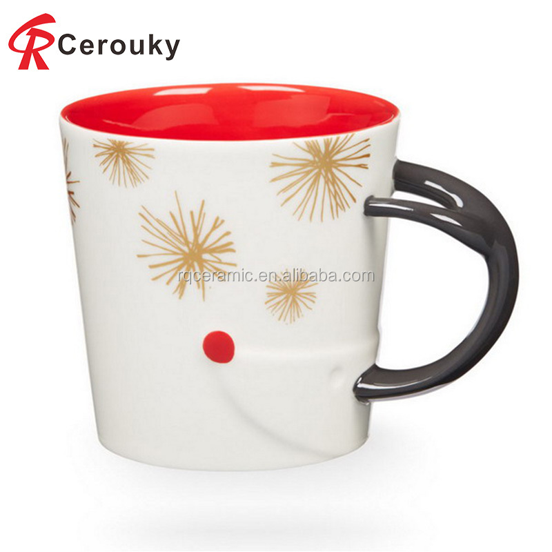 2016 creative design white and red Christmas ceramic mug cup