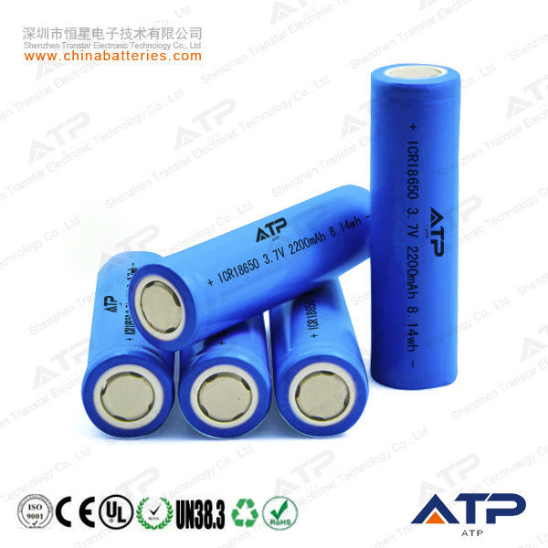 Hot selling  3.7v  18650 2200mah lithium ion battery cell / 3.7v  rechargeable li-ion 2200mah battery cell