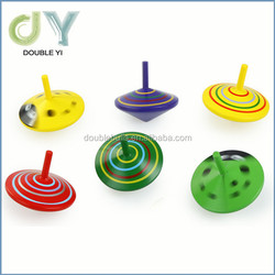 Custom Funny Traditional Educational Wooden Mini Gyro Spinning Top Toys for Kids Children
