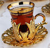 Tea Cup and Saucer, Glass Cup in Copper Casing for Chai, Turkish, Moroccan, Arabian, Gold