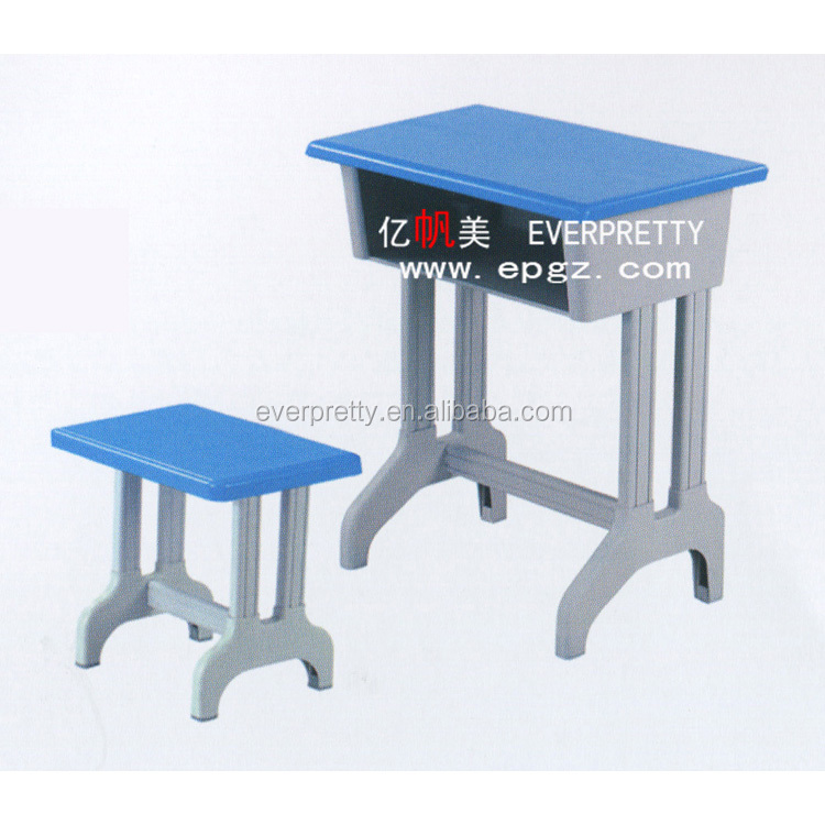Kindergarten furniture/ single primary kids school desk and chair/ plastic desk and chair