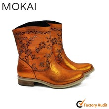 MK25-18 ORANGE latest trendy real leather high cut ladies boots hollow punch out boots