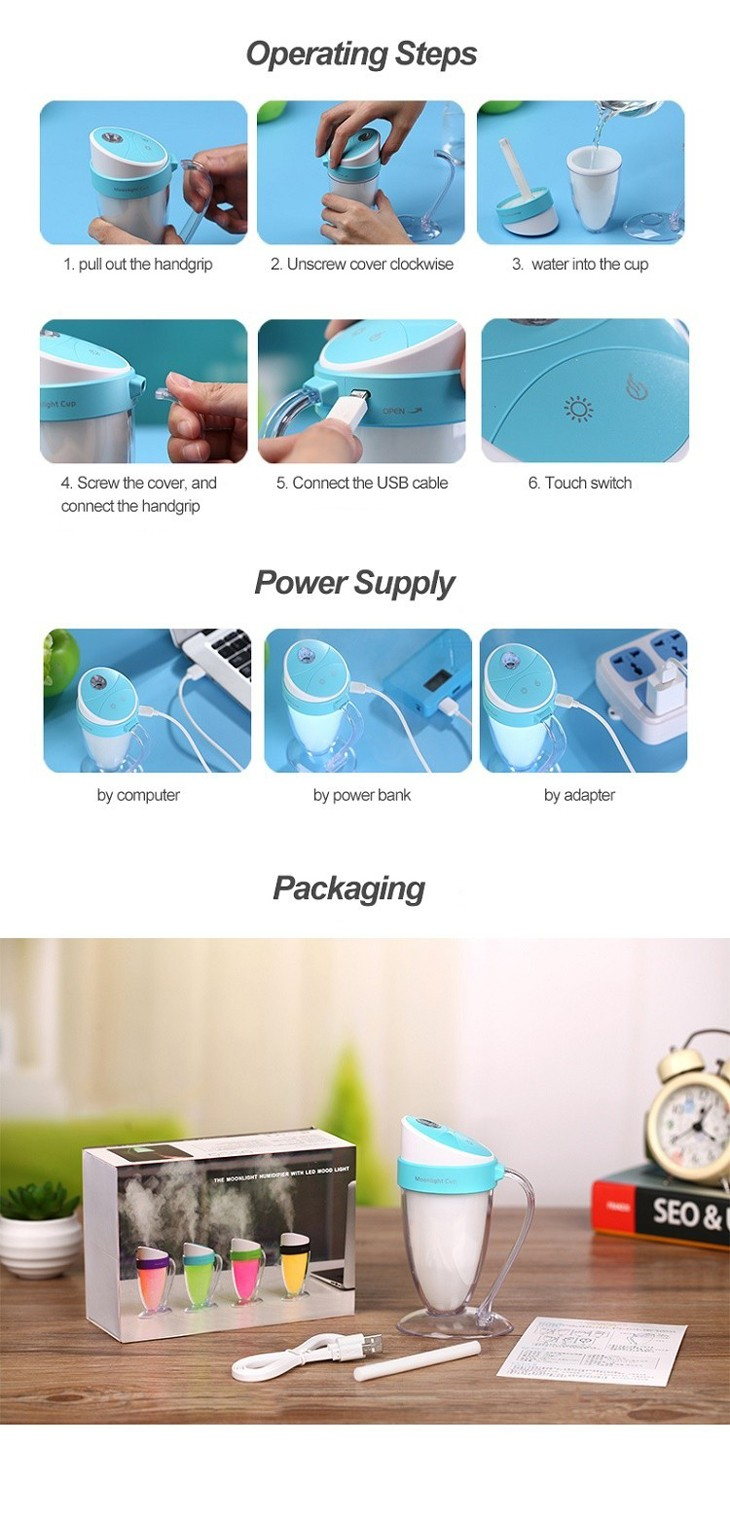 Innovative LED changeable color moon light Cup ultrasonic cool mist humidifier