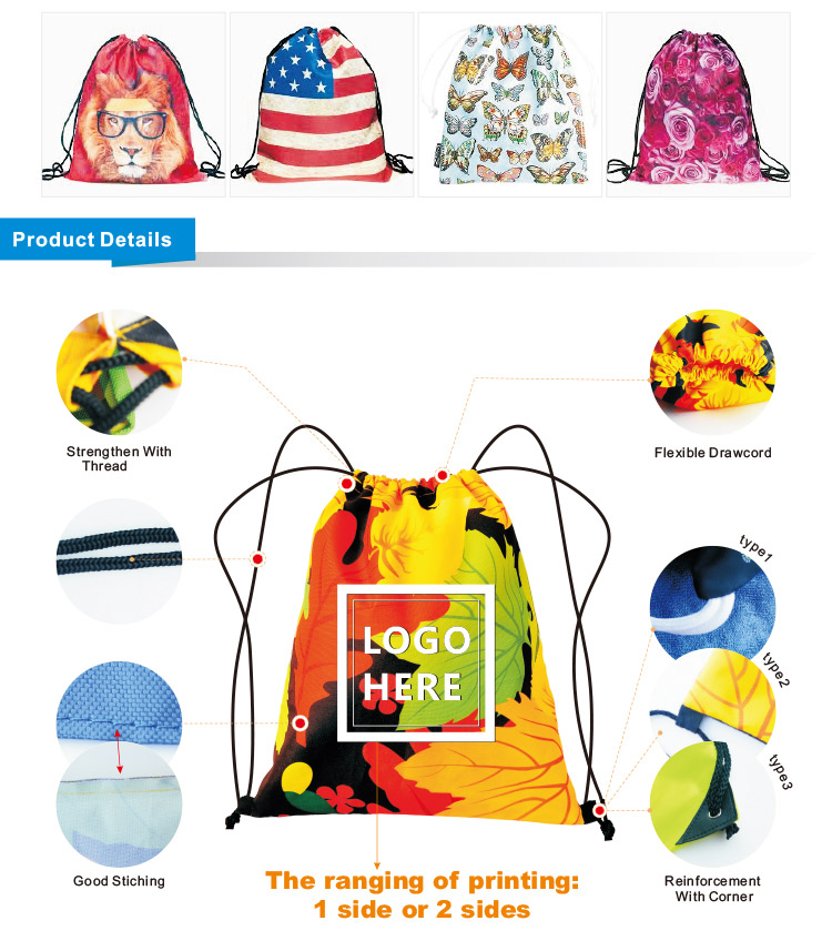 Hot Selling High Quality Full Printing Cheap Polyester Drawstring Bag