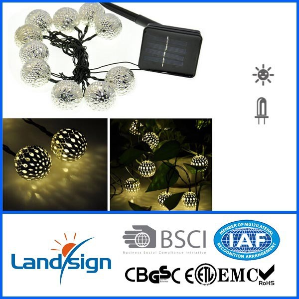 Landsign Warm White 10 Balls/Set String LED Fairy Lights 10 Solar Powered Led Lamp Seller