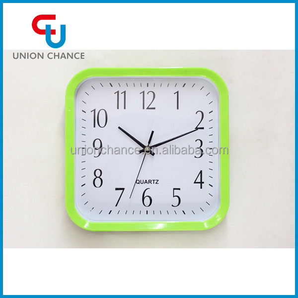 Quantity Buying Fashion Square Simple Light Green Wall Clock for Home Decor